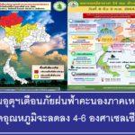 กรมอุตุนิยมวิทยาประกาศเตือนพายุฝนฟ้าคะนองและลมกระโชกแรงประเทศไทยตอนบน คาดอุณหภูมิจะลดลง 4-6 องศาเซลเซียส